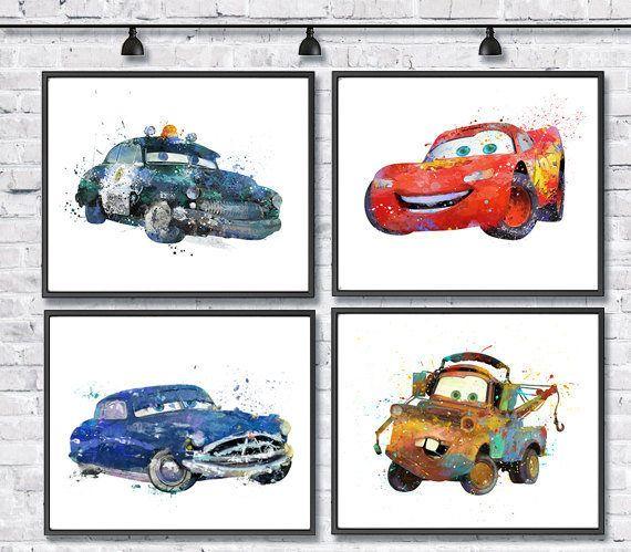 570x499 Mcqueen Watercolor Print Set, Disney Art, Pixar, Cars Art