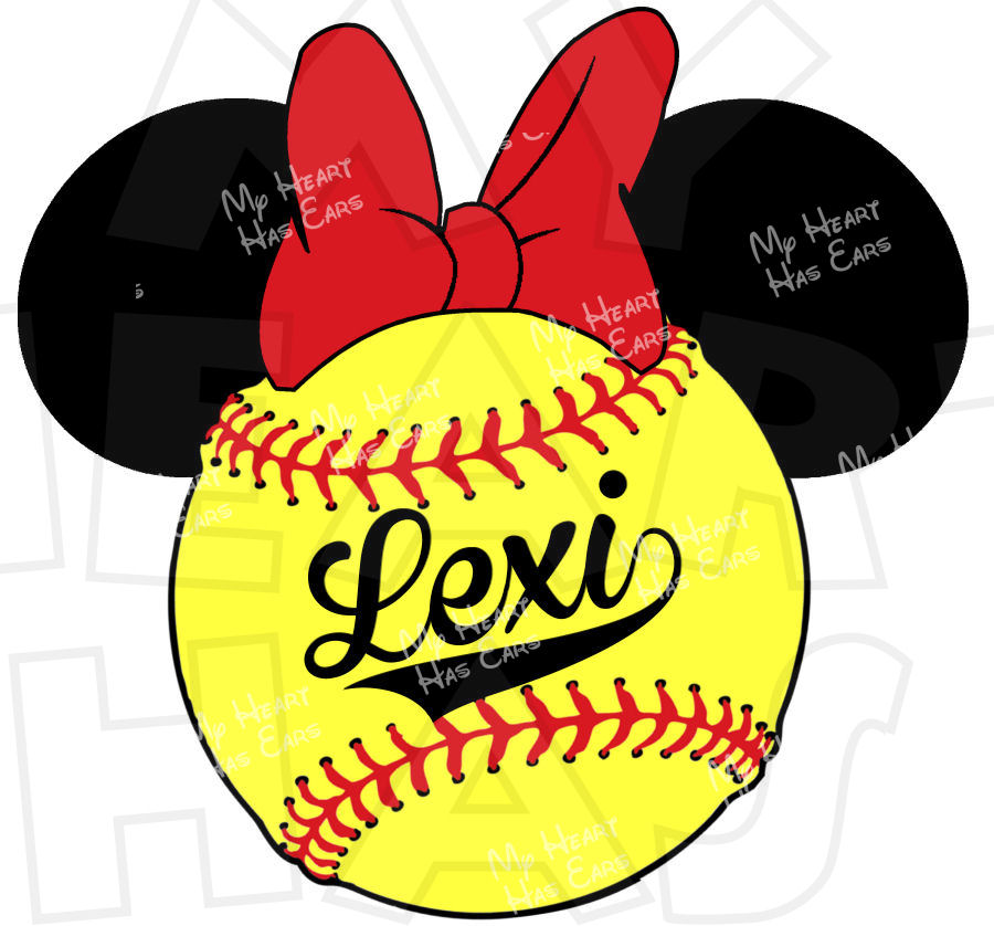 b6ec3eab1f8dd 900x838 Minnie Mouse Softball Personalized Digital Clip Art Image For Iron
