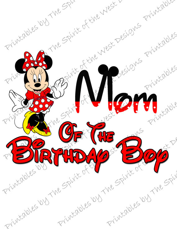 570x738 Mom Of The Birthday Boy Minnie Mouse Iron On Image Mouse Ears