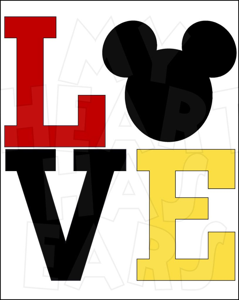815x1024 Love With Mickey Mouse Instant Download Digital Clip Art My
