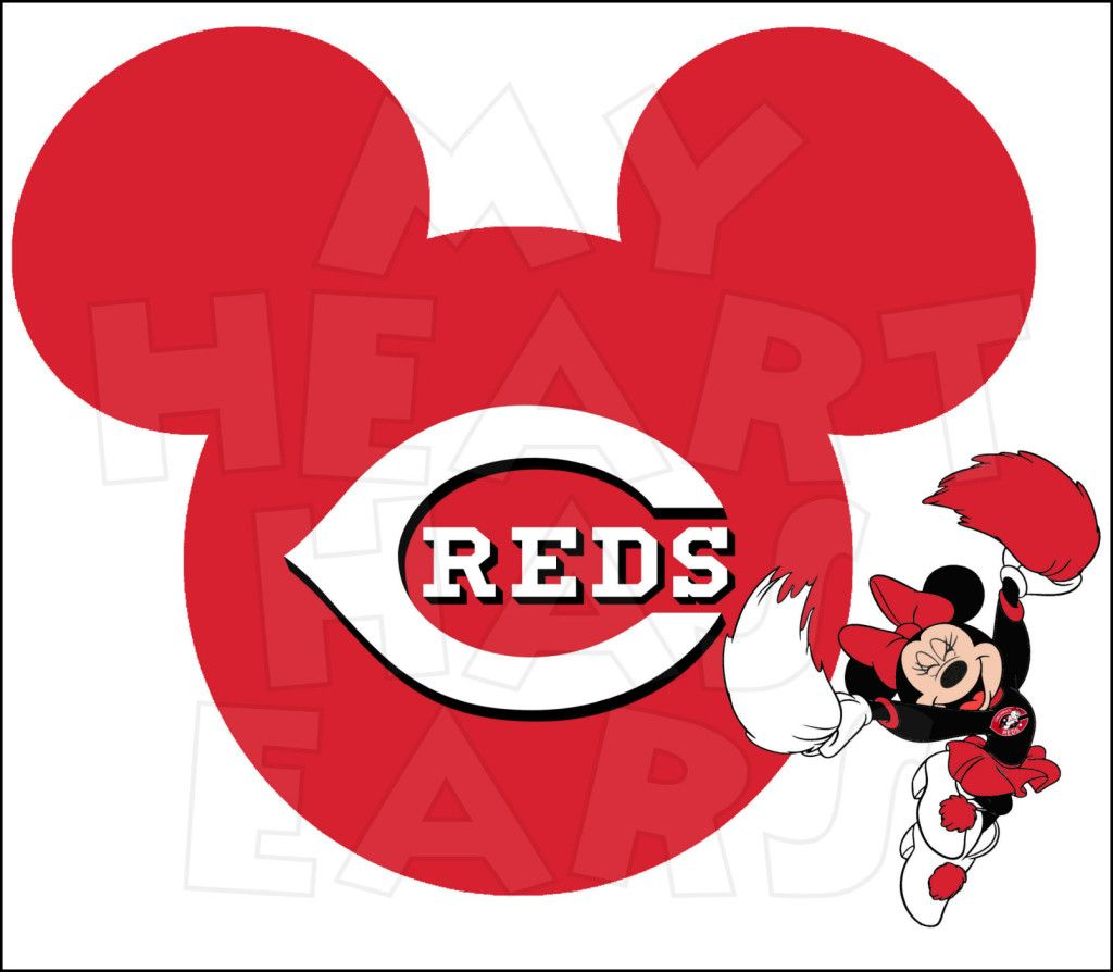 1024x894 Cincinnati Reds With Minnie Mouse Instant Download Digital Clip