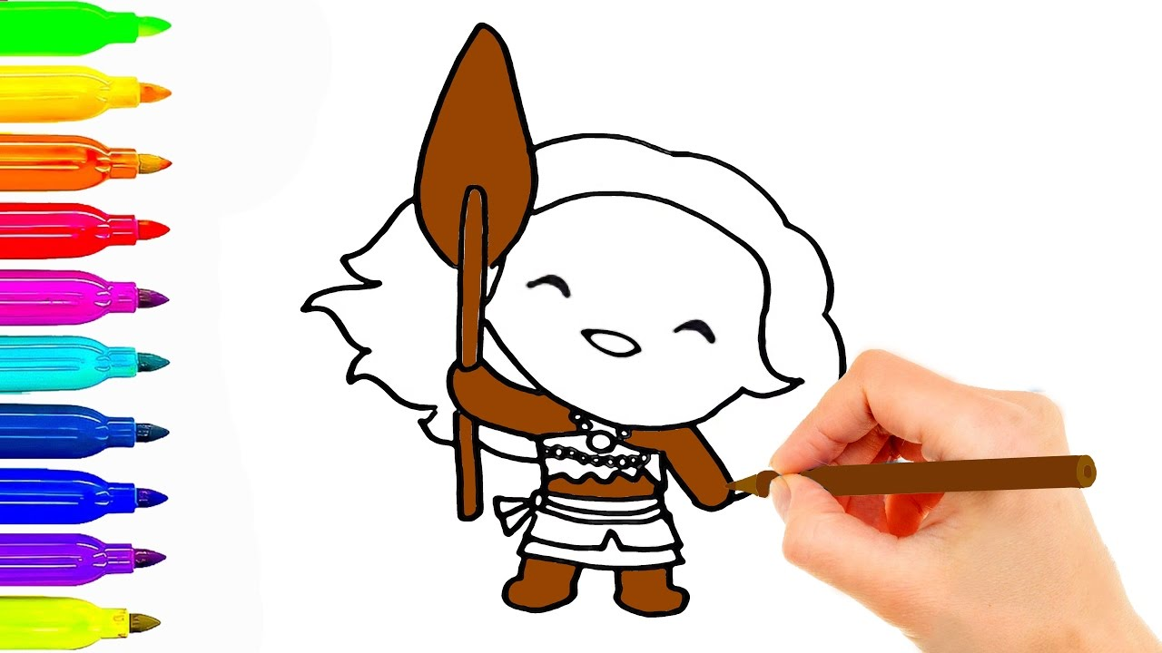 1280x720 How To Draw Disney Princess Moana Coloring Pages For Kids Best