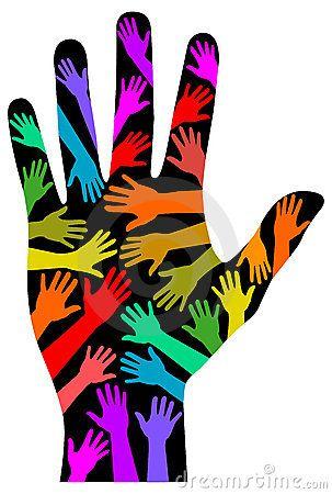 303x450 Lgbt Symbols Clip Art Illustration Of Multicolored Hands Against