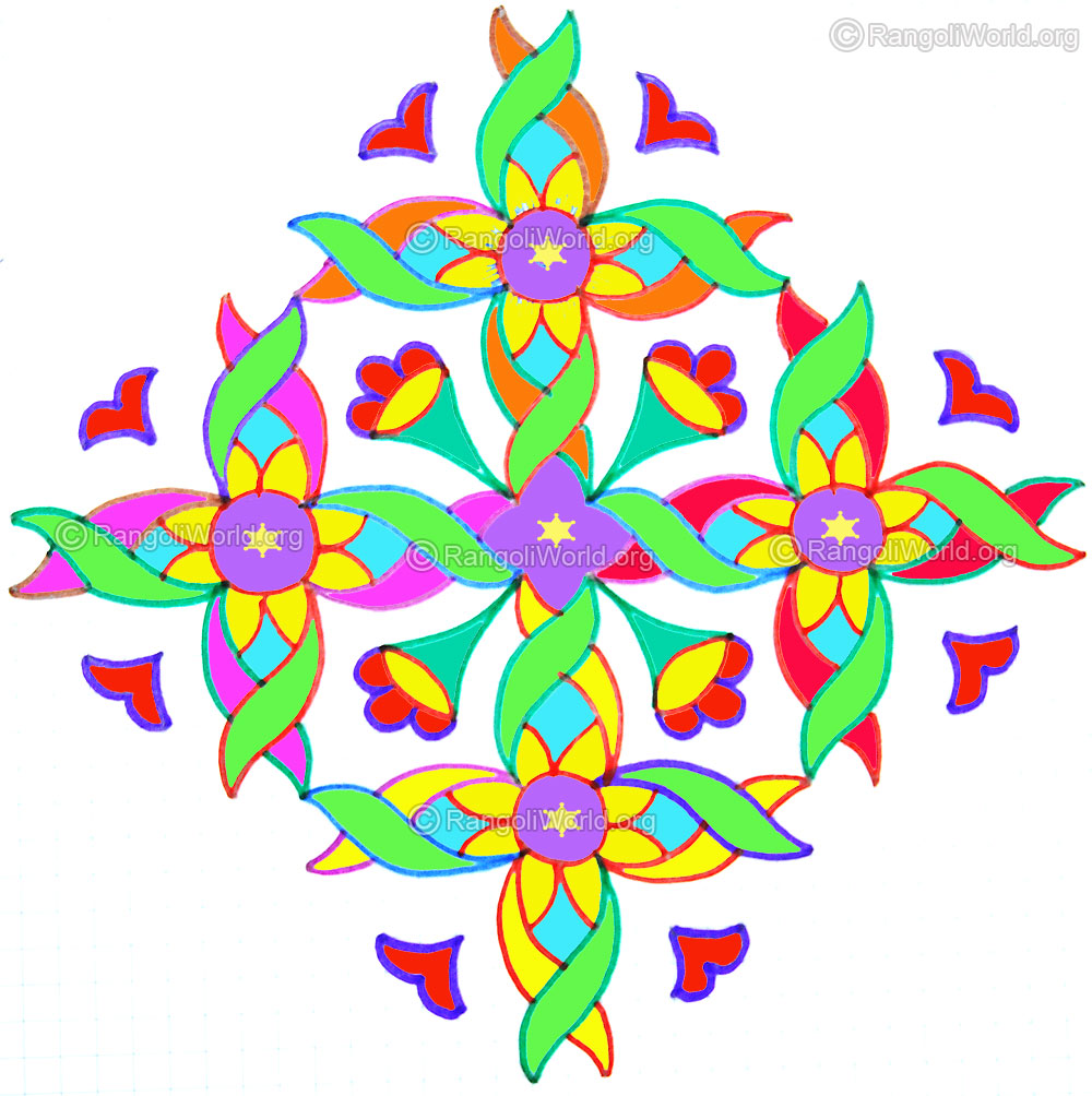 1000x1004 16 Dots Kolam Designs Gallery