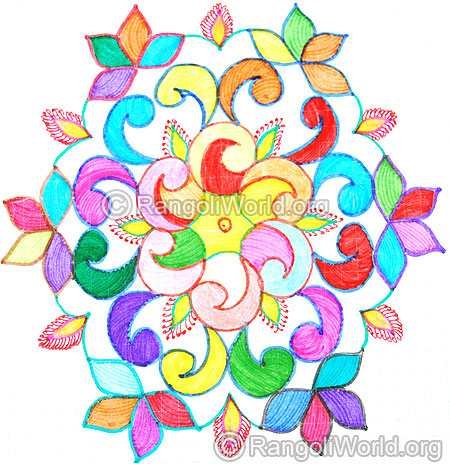 450x464 Diwali Kolam Designs 2014, 37 Colorful Kolam Collections