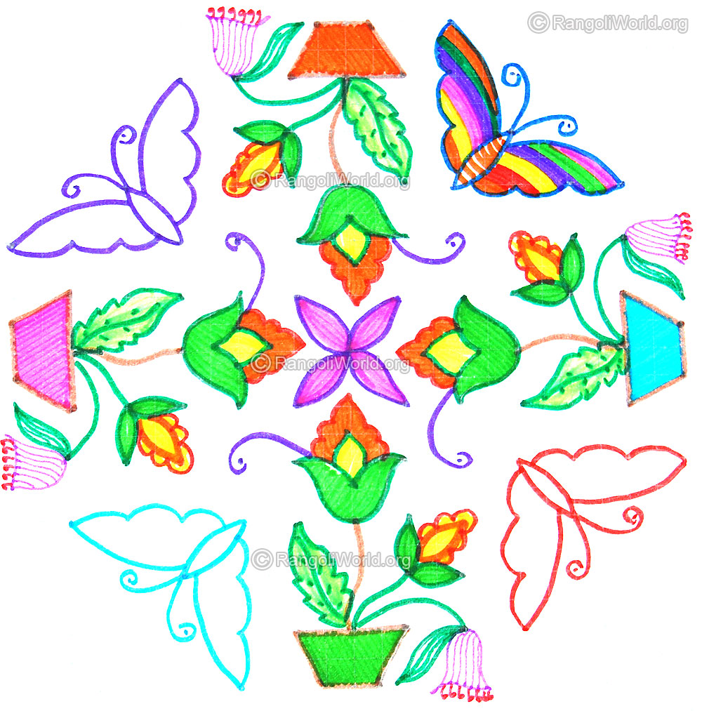 1000x1013 Flower Kolam Designs Gallery 10