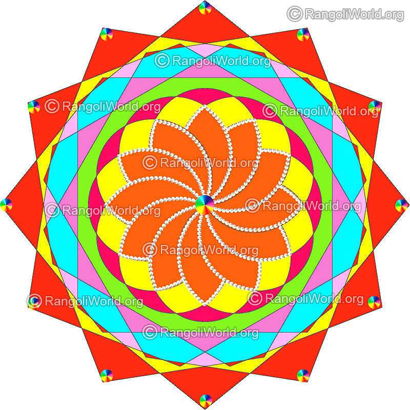 800x800 Kundan Rangoli Designs, Simple For Holi, Diwali, Pongal Festival