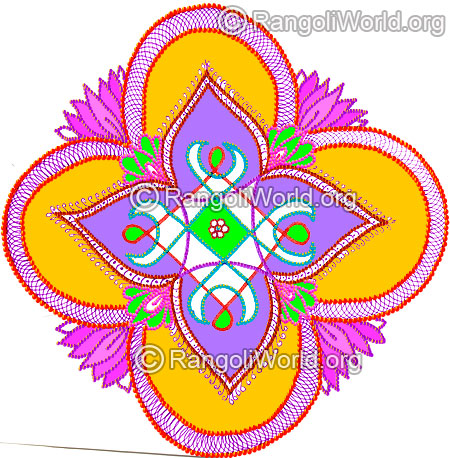 450x458 New Year Rangoli Designs 2016 Gallery