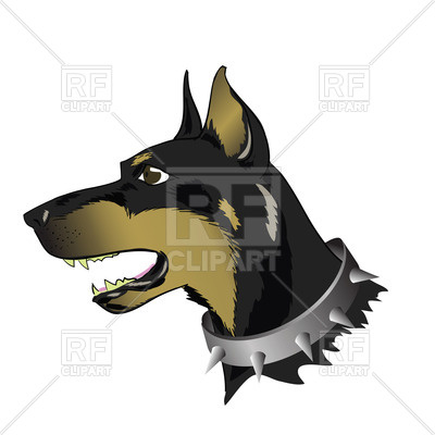 400x400 Head Of Doberman With Spiked Dog Collar Royalty Free Vector Clip