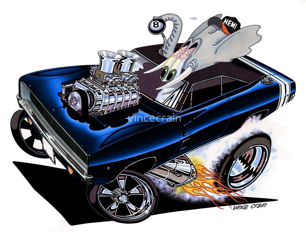1000x761 Vince Crain High Octane Art! Full Charge 1968 Dodge Charger Rt