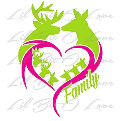 425x425 Buck Doe Heart Deer Family With Babies