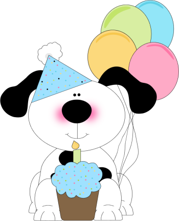 350x432 Cute Birthday Dog With A Cupcake And Balloons Cards Birthday