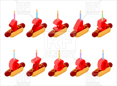 400x295 Hot Dog And Birthday Numbers Candles Royalty Free Vector Clip Art