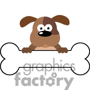 300x300 Clipart Dog Holding Bone Clip Art 5170 Cartoon Over A Banner