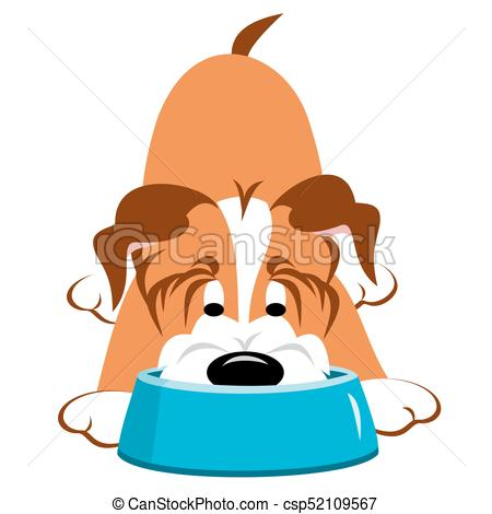 450x470 Dog Eating From Bowl. Dog Eating Or Drinking From A Blue Clip