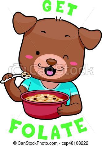 329x470 Mascot Dog Whole Grain Cereal Folate. Mascot Illustration