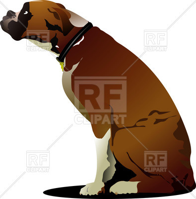 395x400 Sitting Dog, Boxer Breed Royalty Free Vector Clip Art Image