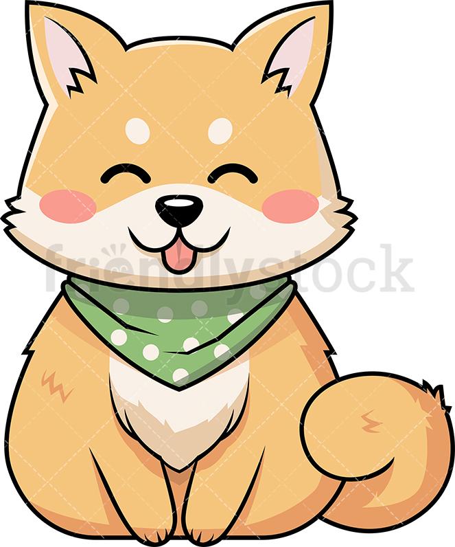 663x796 Cute Shiba Inu Dog Wearing Handkerchief Cartoon Vector Clipart