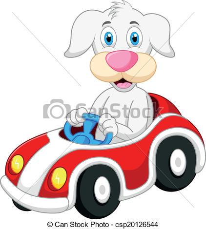 422x470 Vector Illustration Of Dog Cartoon Driving Car Eps Vector