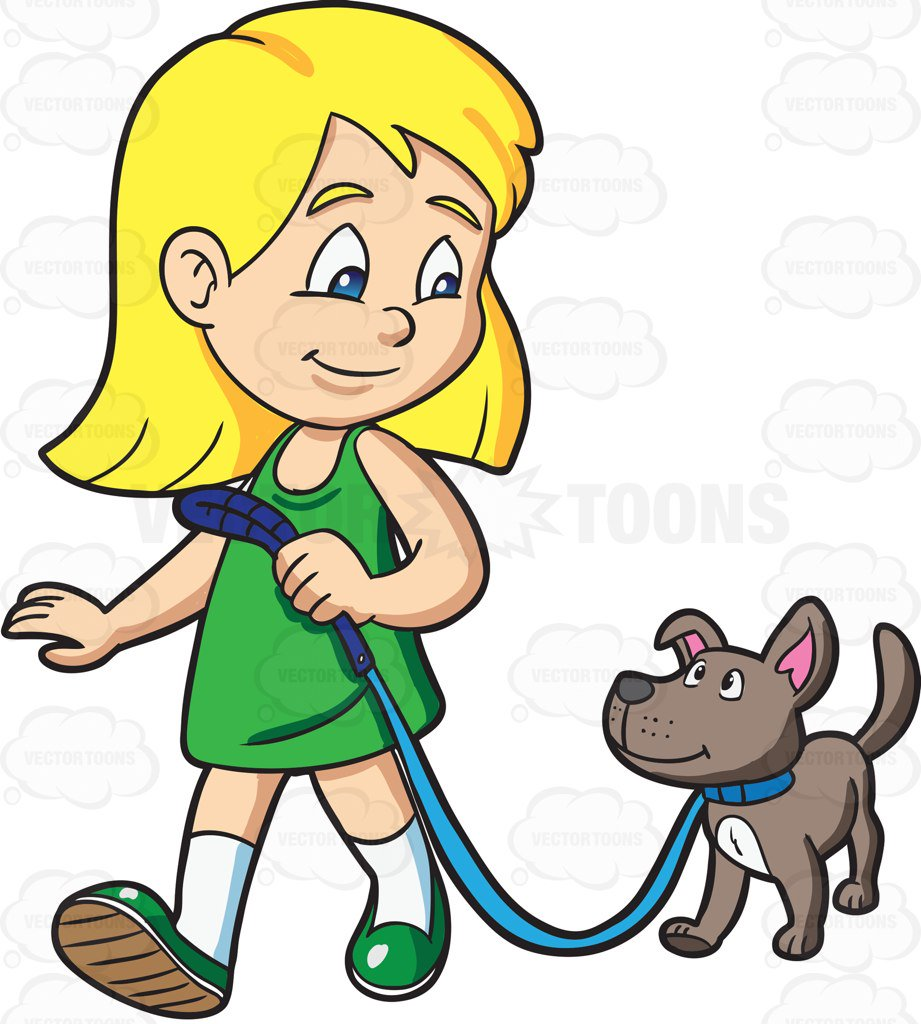 921x1024 A Girl Takes Her Dog For A Walk Cartoon Clipart Vector Toons