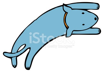433x300 Happy Blue Dog With Orange Collar Jumping Premium Clipart