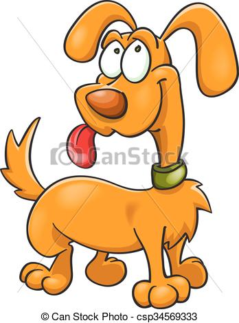 348x470 Orange Cartoon Dog In Green Collar. Funny Orange Dog In Vectors
