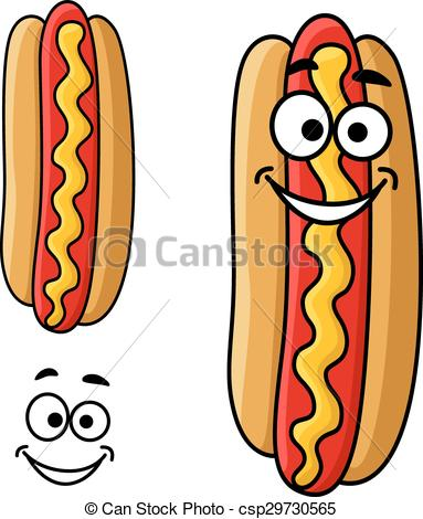 383x470 Cartoon Hot Dog With Mustard. Fast Food Hot Dog Cartoon Clip