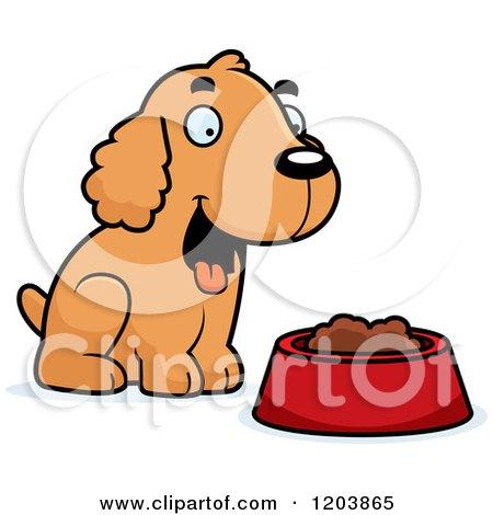 450x470 Cartoon Of A Cute Spaniel Puppy By A Bowl Of Dog Food