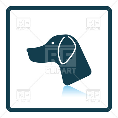 400x400 Shadow Reflection Design Of Hunting Dog Head Icon Royalty Free