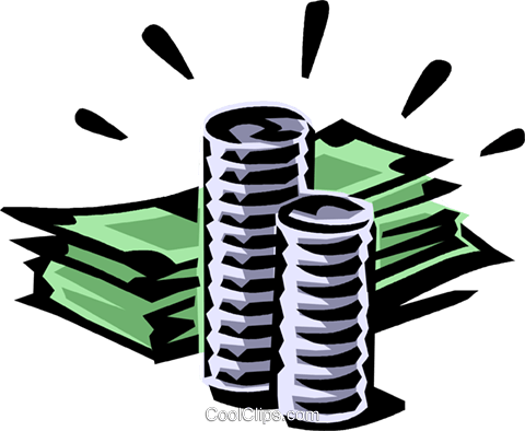 480x394 Dollar Bills And Coins Royalty Free Vector Clip Art Illustration
