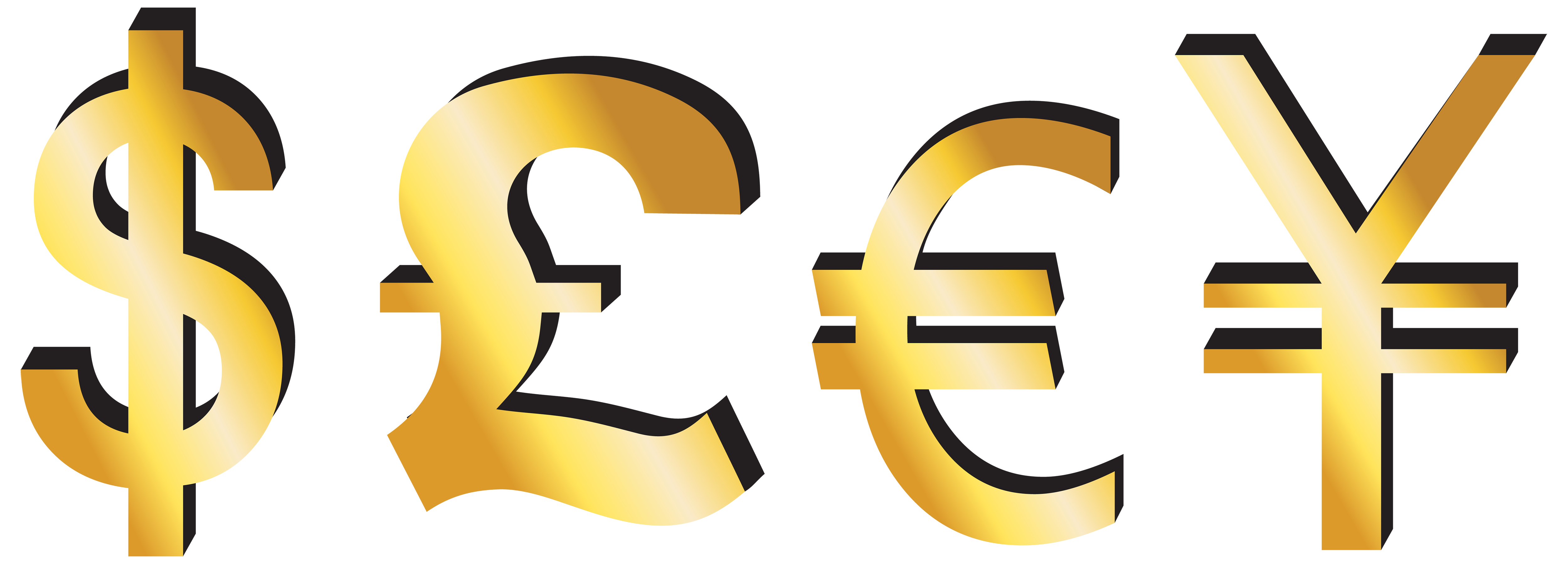5000x1798 Dollar Pound Euro Yen Signs Png Clipart
