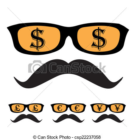 450x469 Dollar Face Globe Blue. Vector Sunglasses And Mustaches Silhouette