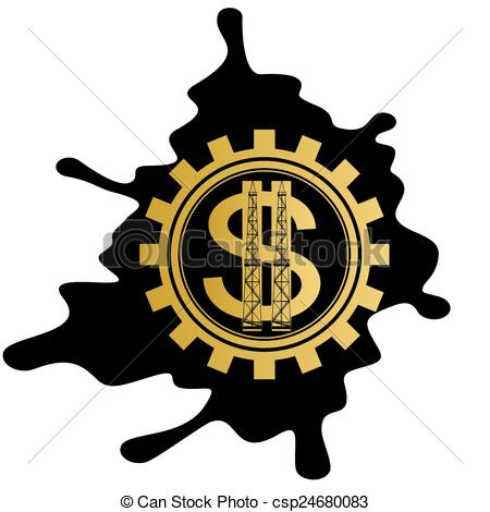 450x470 Oil Business. Dollar Sign On Background Cog Oil Puddles . Vector