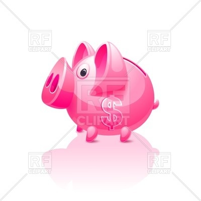 400x400 Pink Piggy Bank With Dollar Sign On Side Royalty Free Vector Clip