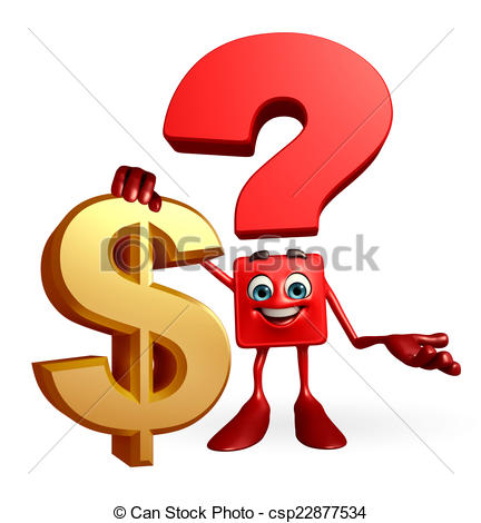 432x470 Question Mark Character With Dollar Sign. Cartoon Character