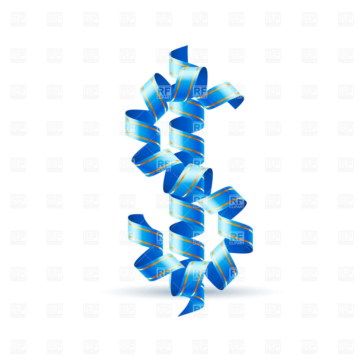 1200x1200 Us Dollar Sign Made Of Blue Paper Streamer Royalty Free Vector