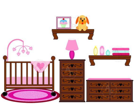 570x440 Crib Clip Art Baby Girl Nursery Crib Changing Table Digital Clip