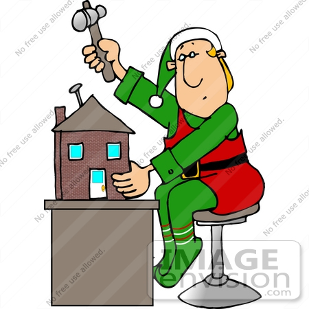 450x450 Santa's Elf Nailing A Doll House Together In A Workshop Clipart