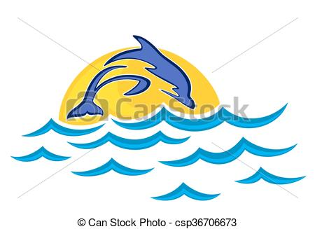 450x327 Dolphin Jump In The Sea. A Dolphin Jump In The High Sea. Vectors