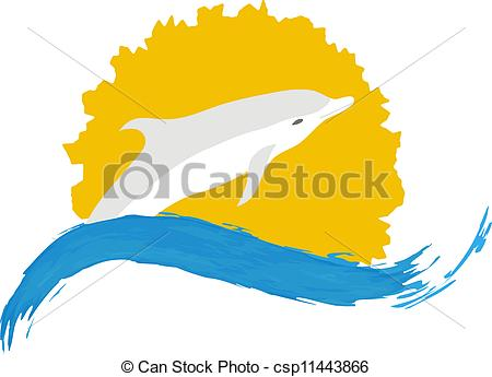450x345 Dolphin Vector Illustration, Isolated Logo On White Clip Art