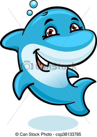335x470 Playful Cartoon Blue Atlantic Bottlenose Dolphin. Cheerful