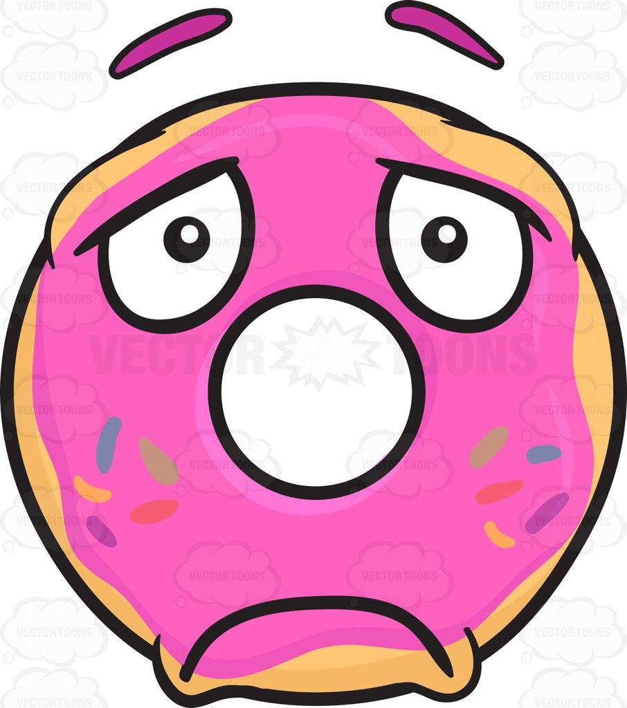 906x1024 Sad Donut Looking Depressed Emoji Cartoon Clipart Vector Toons