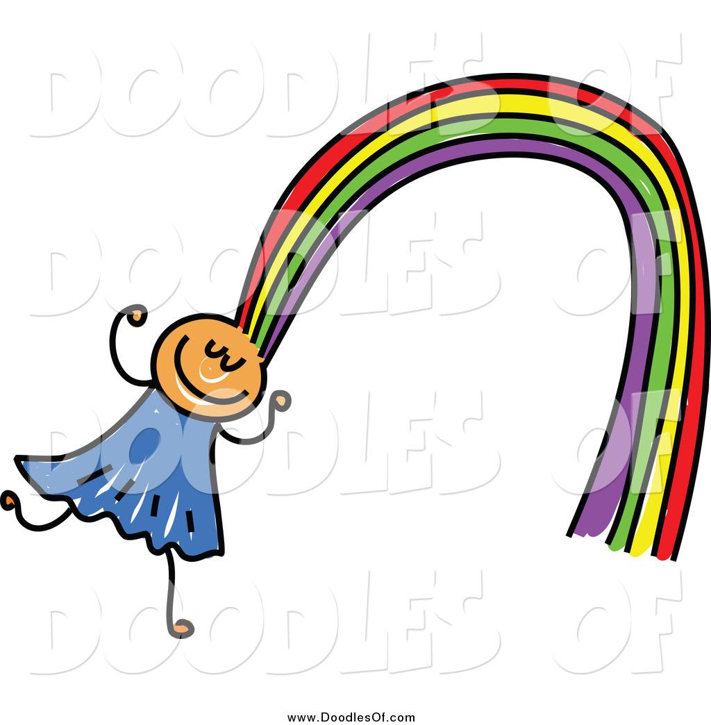 1024x1044 Vector Clipart Of A Doodled Girl With Rainbow Hair By Prawny