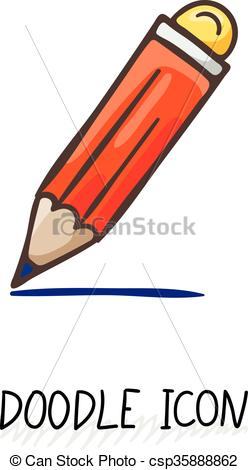 248x470 Vector Doodle Pencil Icon. Pencil With Eraser. Vector Doodle