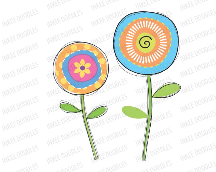750x600 Doodle Flower Clipart