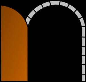 299x285 Open Brown Door Clip Art