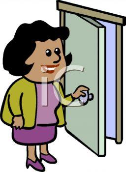 256x350 African American Businesswoman Opening A Door