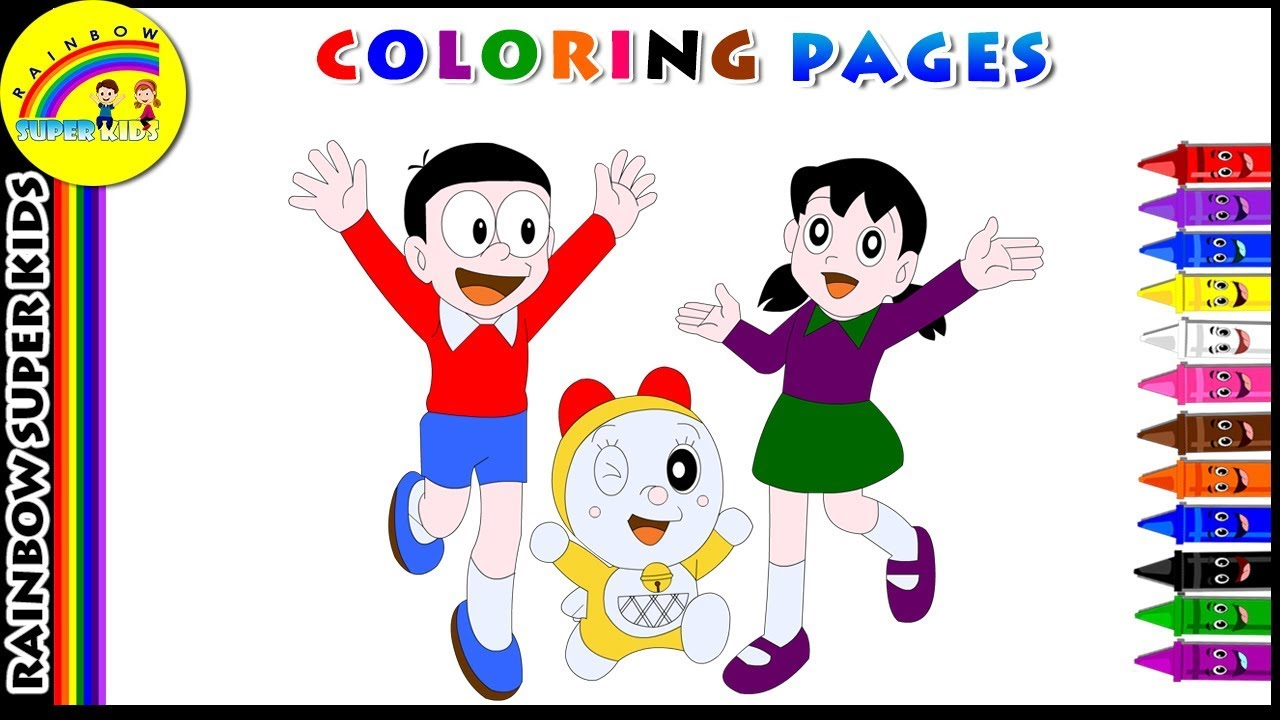 1280x720 Doraemon Coloring Page For Kids Color Dora And His Friends