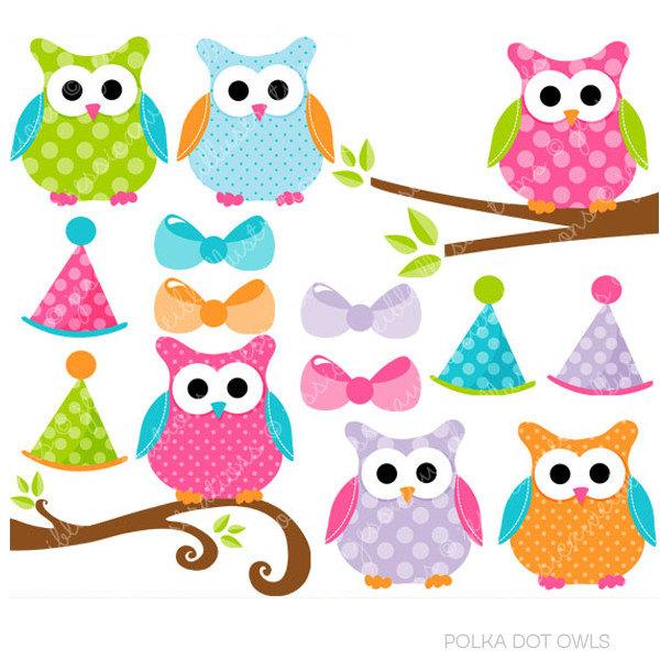 600x600 Polka Dot Owls Cute Digital Clipart, Commercial Use Clip Art, Cute
