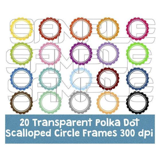 570x571 Polka Dot Scalloped Circle Frames Clipart, Polka Dot Scallop